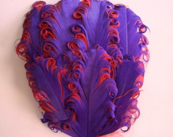 Feather Pad - Purple on Red Curled Goose Nagorie Feather Pad