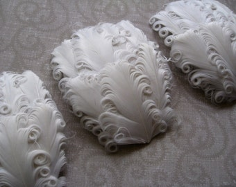 Feather Pads - LOT OF 5 - White Curled Goose Feather Pads