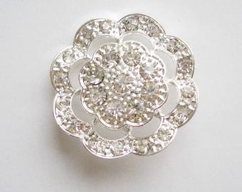 Silver Rhinestone Shank Button 1 inch