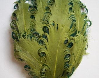1 Lime and Hunter Curled Goose Feather Pad