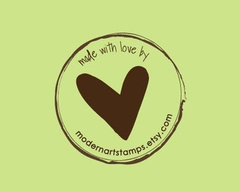 Custom Rubber Stamp - Custom Stamp - Personalized Stamp - Made with Love Stamp - Heart Stamp - Round Stamp - Round Heart Stamp - C108