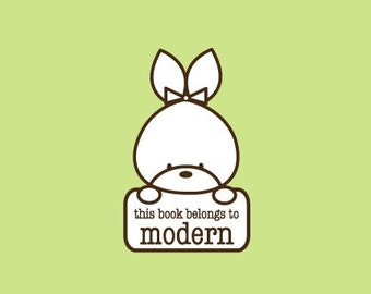 Custom Rubber Stamp   Custom Stamp   Personalized Stamp   Teacher Gifts   This book belongs to Stamp   Bunny Stamp   C371