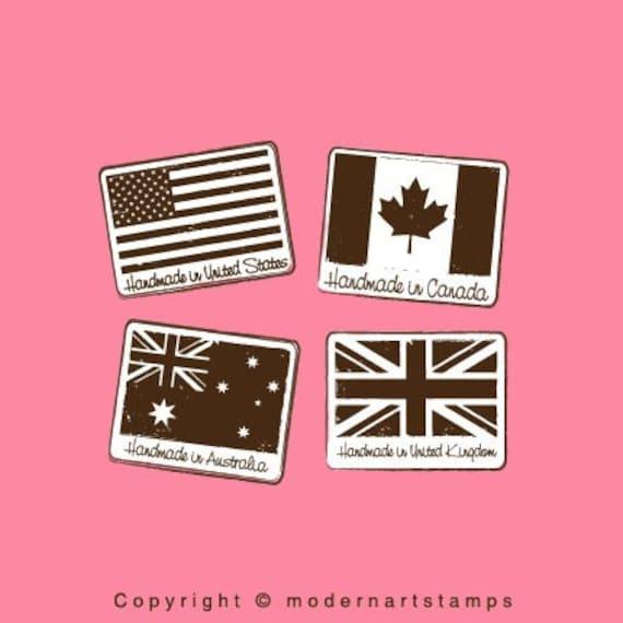Handmade in US Stamp, Handmade in Australia, Handmade in UK, Handmade in Canada   Flag Stamp   Rubber Stamp   Craft Stamp    A68