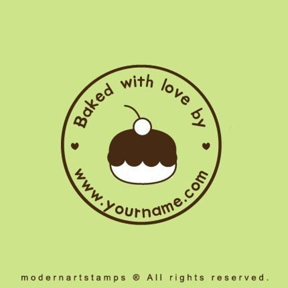 Custom Rubber Stamp   Custom Stamp   Personalized Stamp   Baked with Love Stamp   From the Kitchen of Stamp   Cupcake Stamp   C17