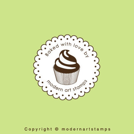Custom Rubber Stamp - Custom Stamp - Personalized Stamp - Baked with Love Stamp - Cupcake Stamp - Bakery Stamp - From the Kitchen of - C429