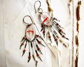 Singing blood - tribal gypsy earrings - crystal quartz