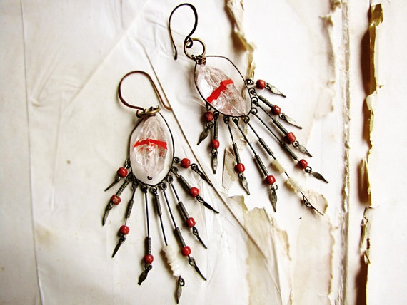 Singing blood - tribal gypsy earrings - crystal quartz