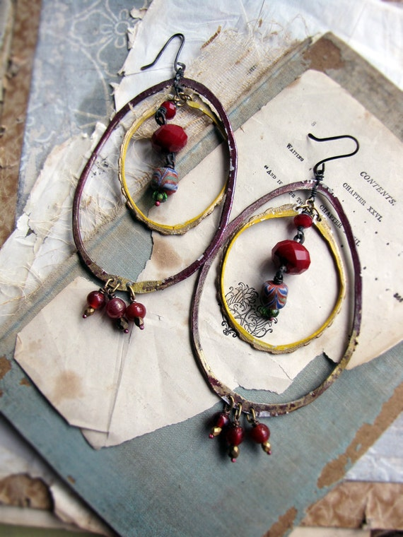 Dragons blood -  large hoop earrings - gypsy queen style - reclaimed metal