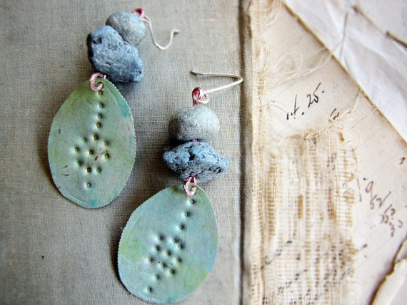 sea tribe - hand painted earrings - organic bohemian style - romantic tribal - punched metal