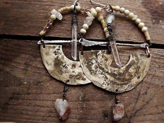 Visionaries - artisan earrings - reclaimed metal - organic form - crystal quartz