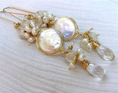 RESERVED ----- Coin Pearl Earrings , Rock Crystal , Rainbow Moonstone ,14k Gold Fill , Bridal