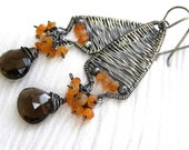 Smoky Quartz Earrings ,   Carnelian  , Sterling / fine  Silver , Wire Wrapped , Oxidized , Statement Jewelry