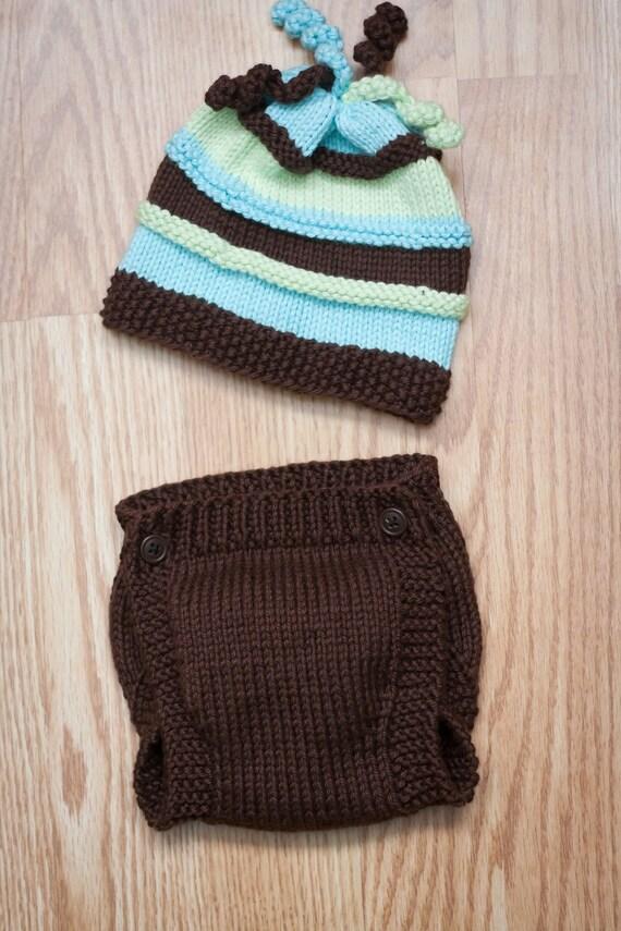 Knit Diaper Bag Pattern Free : Fun Striped Knitted Newborn Beanie and Diaper by ...
