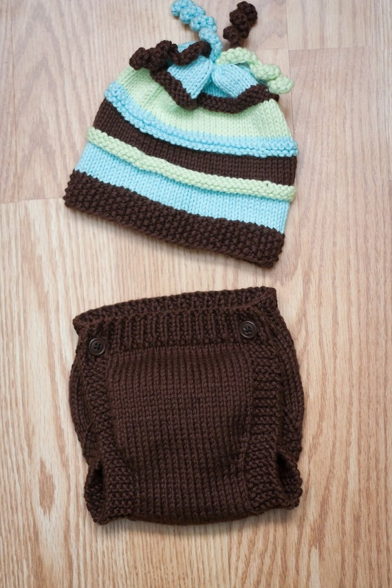 Fun Striped Knitted Newborn Beanie and Diaper Cover Set  PATTERN