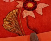 SALE - Red Bloom - Suede Leather Blank Book (Genuine Nubuck)