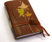 """Brown Leather Journal - Hand Bound Blank Notebook - """"Leaves Symphony"""""""
