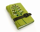 """Journal - Handpainted Green Leather Notebook - One of a Kind - """"Fresh Nature"""""""