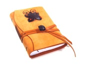 Journal Notebook with Suede Orange Leather and Decorated Paper