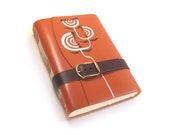 COUPON CODE: MOTHERSDAY - Leather Notebook - Happy Orange Journal - Nature's Geometry