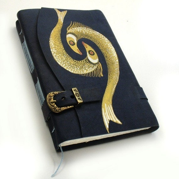 Golden Fish - Painted Leather Journal