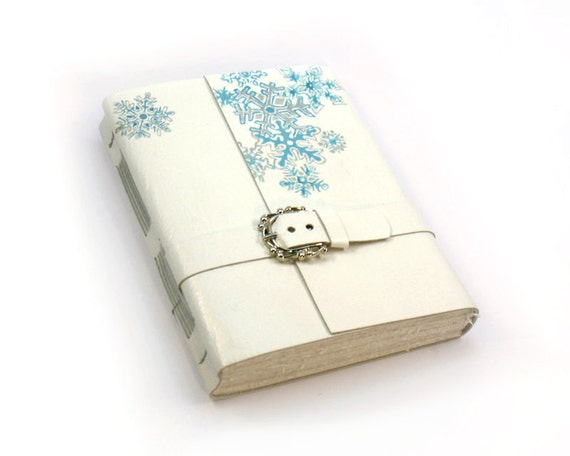 White Winter Leather Journal - Leather Handmade Journal
