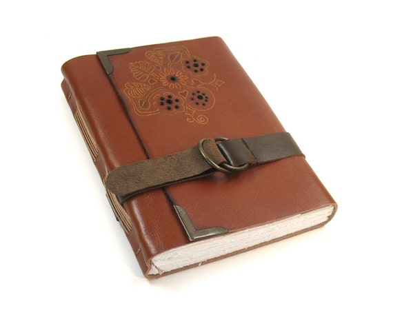 Journal - Leather Handmade Journal in Brick Brown Color