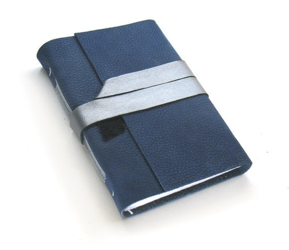 Handmade Leather Journal in Blue and Silver - Blank Paper