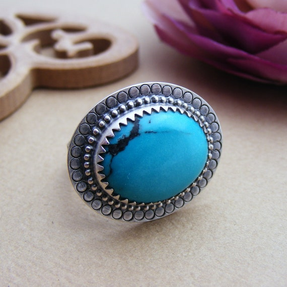x X SALE Xx The Casablanca Ring - Turquoise and Oxidised Silver