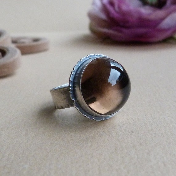 xX RESERVED Xx Smoky Quartz Ring in Oxidized Sterling Silver - Candy Ring