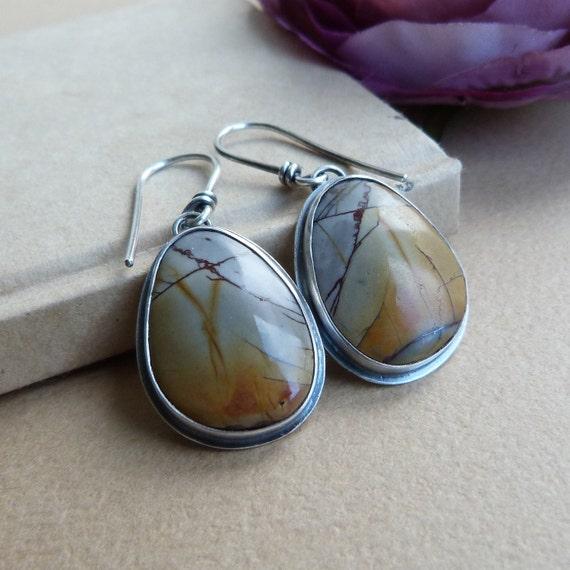 Picasso Jasper Earrings in Oxidized Sterling Silver