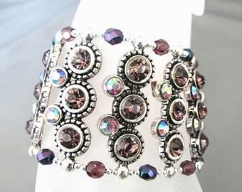 SALE Very Large Purple and Silver Stretch Bangle Cuff Bracelet