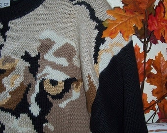 Vintage Novelty Knit Couger Sweater  42 bust xl xxl