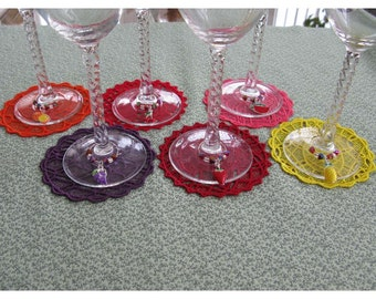 Lace Fruit Coasters and Matching Stemware Charms