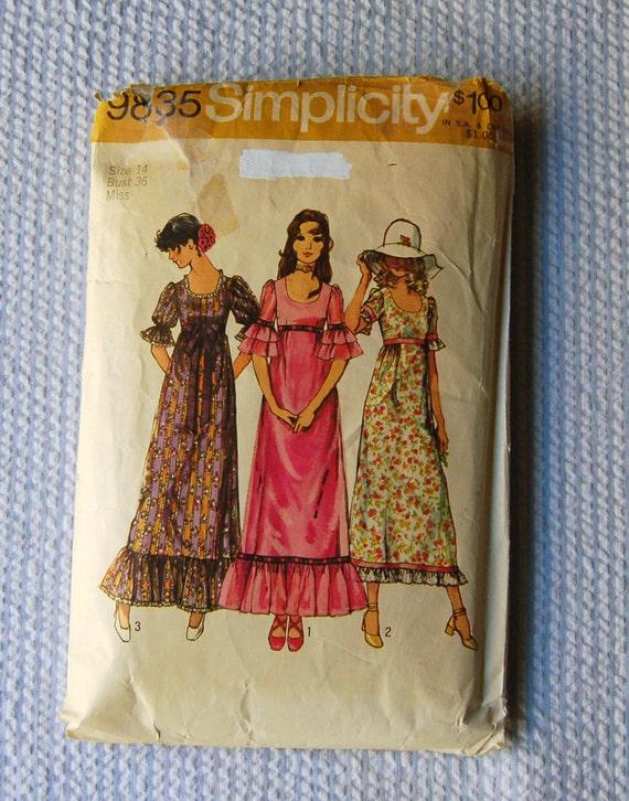 Vintage 1970s Simplicity Dress Pattern 9835