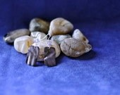 HANDMADE EARRINGS - Folded Copper Rectangle with Mauve Enameling