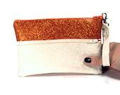 Color Block Clutch Purse - Orange and White
