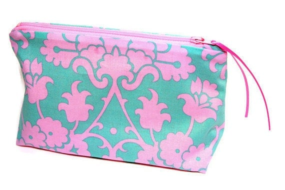 Bridesmaid Makeup Cosmetic Bag, Pencil Case, Zippered Pouch Pink Teal