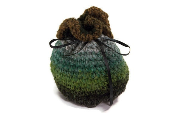 Medium Crochet Dice Bag Free Standing Green Gray Black