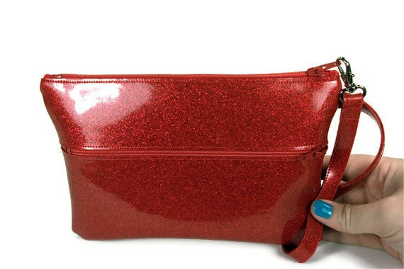 Red Wristlet Purse Evening Bag Day to Night Bridesmaid Clutch