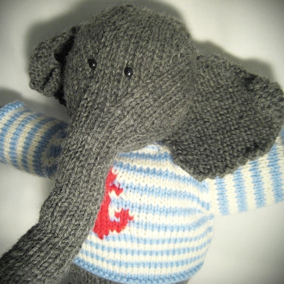 Elephant Knitting Pattern : KNITTING PATTERN Elephant Stuffed Animal