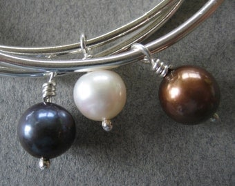 Sterling Silver Bangle Bracelets with Dangling Pearls