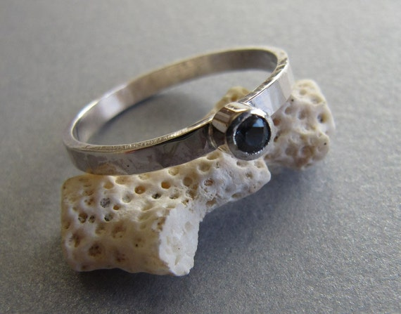 Intense Blue Sapphire Ring sterling Silver