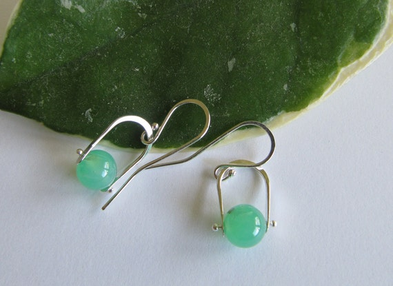 Green Chrysoprase Earrings with Sterling Silver