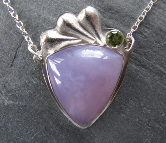 Holly Blue and Peridot Necklace with Cast Silver Sedum Leaves