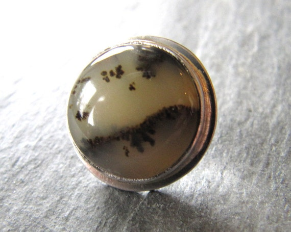 Dendritic Opal Tie Tack in Sterling Silver