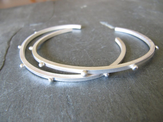 Sterling Silver Cuff Bracelet with 5 Dots