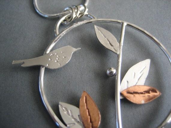 Bird and Leaf Pendant