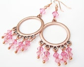 Pink Crystal and Copper Chandelier Earrings