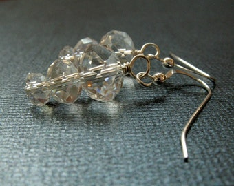 Clear Glass Sterling Silver Earrings - Sparkly Dangle Earrings