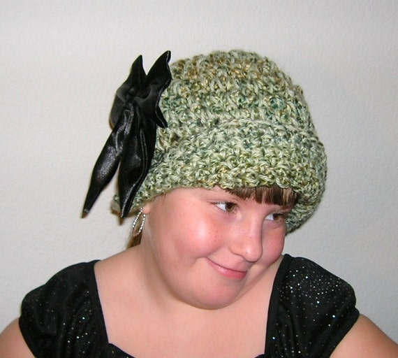 ON SALE, 25% OFF, Chunky Cloche or Bucket Hat in Homespun Meadow Shades, 2 Flowers and a Bow Included Free - Ready to Ship